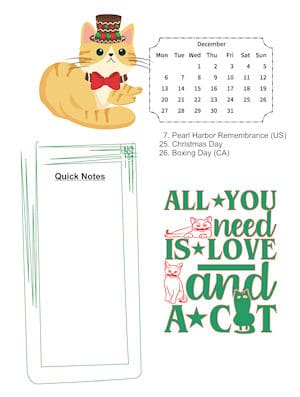 Cat Lovers December sample page