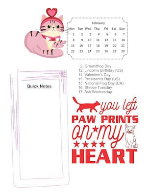Cat Lovers February Sample page