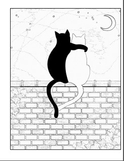 Cats on wall coloring page