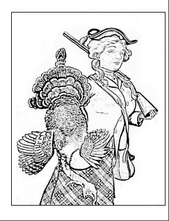 hunter with turkey coloring page sample